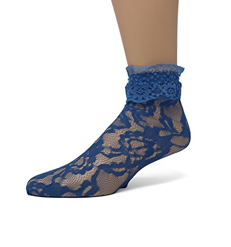 EMEM Apparel Women's Ladies Lace Anklet Ankle Quarter Socks Stockings with Ruffle Royal Blue 9-11 ()