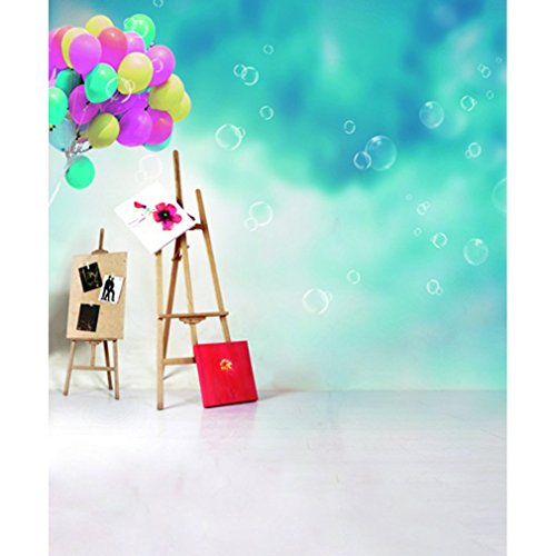 Generic Newborn Kids Photo Backdrops Picture on Timber Support Balloons Foam Bubble Blue Photography Backgrounds Booth Studio Props