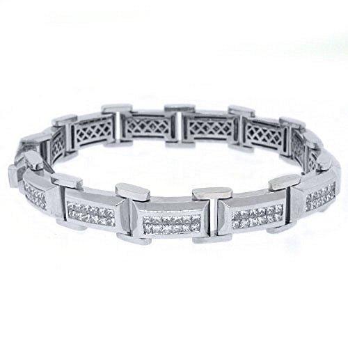 18k White Gold Mens Square Cut Invisible Diamond Bracelet 7.21 Carats