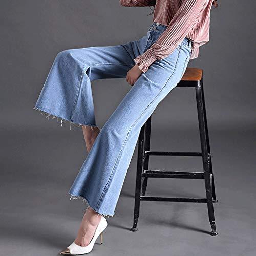 Ancha de Flare 2 Jeans angostos Mujer Jeans Pierna de Pantalones Alta Estiramiento RXF Estrechos Cintura zZqwPCw