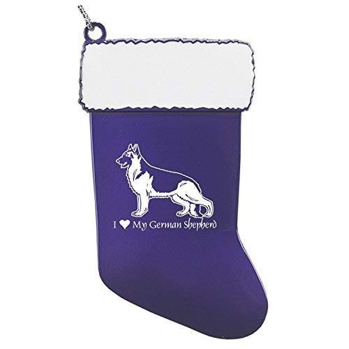 - Pewter Christmas Stocking Ornament-I love my German Shepherd-Purple