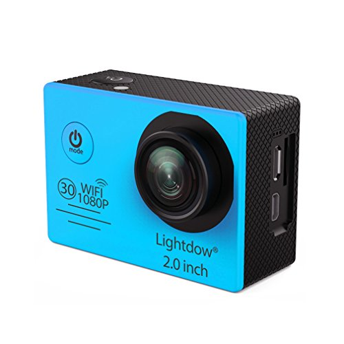 Lightdow LD6000 WiFi 1080P HD Sports Action Camera Bundle with DSP:Novatek NT96655 Chip, 2.0-Inch LTPS LCD, 170° Wide Angle Lens and Bonus Battery (Blue+WiFi) (And Tv Shoot Point)