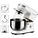 Homeleader Power Tilt-Head Stand Mixer, Food Mixer, Kitchen Electric Mixer with Double Dough Hook, Whisk, Beater, Splash Guard, Multiple speeds, 5 Quart Stainless Steel Bowl, White, 800W Review