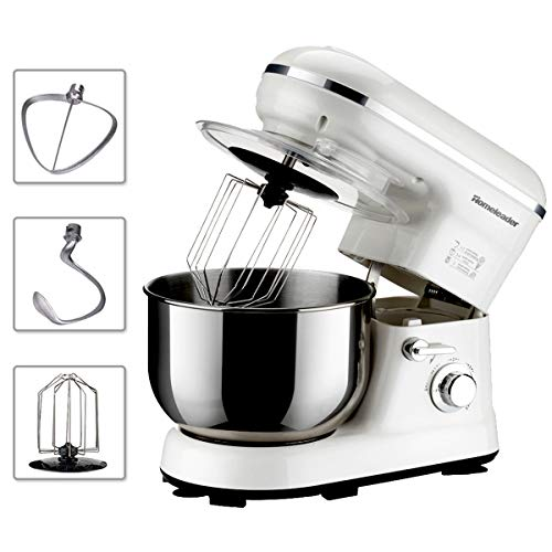 Find Cheap Homeleader Stand Mixer, 5QT Kitchen Mixer, 800W/120V Electric Food Mixer, 5 Speed Control, Food Processor with Whisk, Dough Hook, Flat Beater, Splash Guard Attachments, White