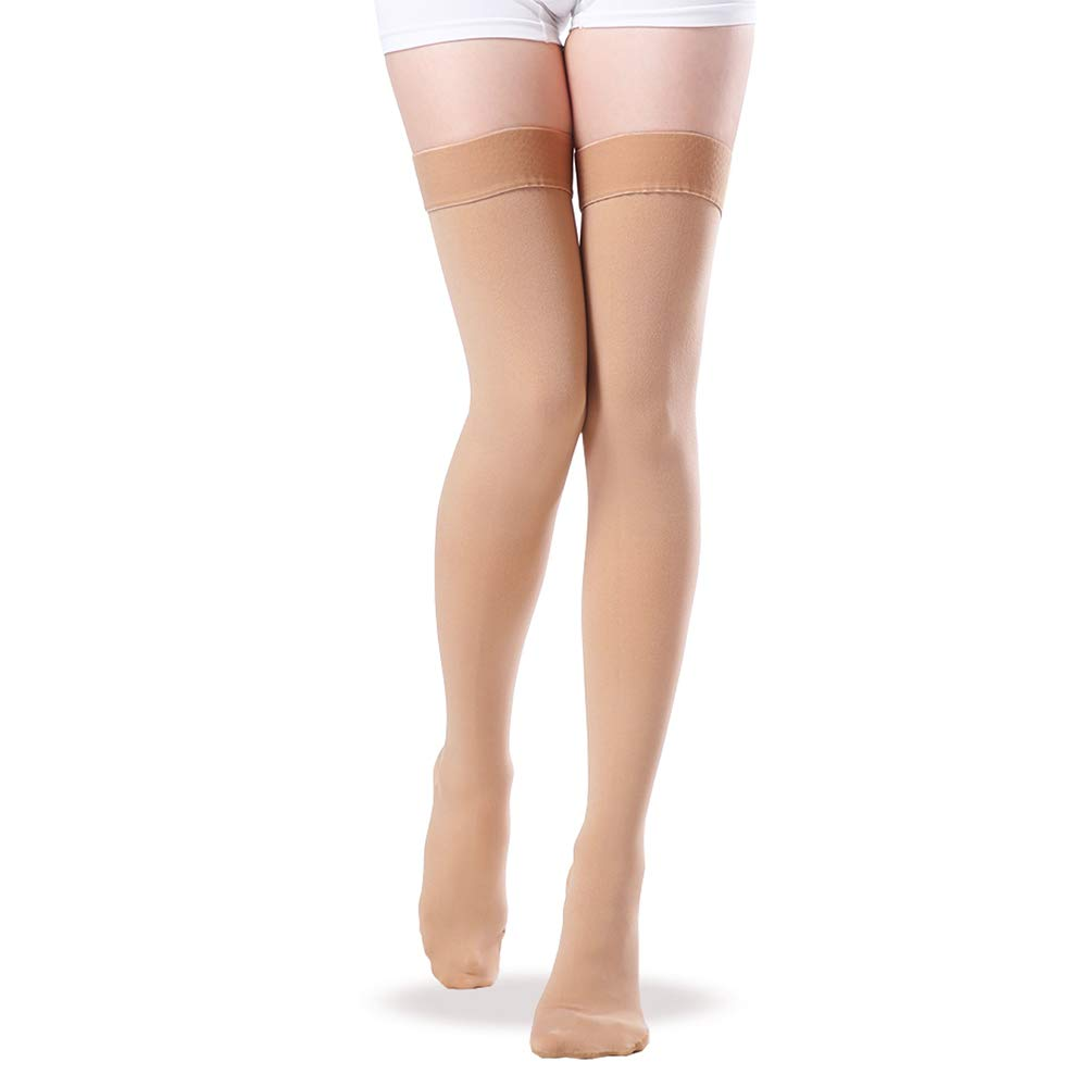 Thigh High Closed Toe Compression Stockings, 20-30 mmHg Gradient Compression Socks with Silicone Band for Women & Men - Medical Travel Pregnancy Nursing Firm Support Hose (Beige, Small)