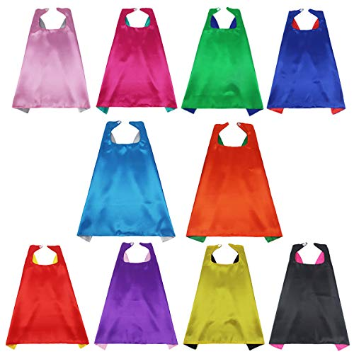 iROLEWIN Superhero Capes for Kids Reversible Dual Color Dress-Up Costume Super Hero Party Gift,10 Pack]()