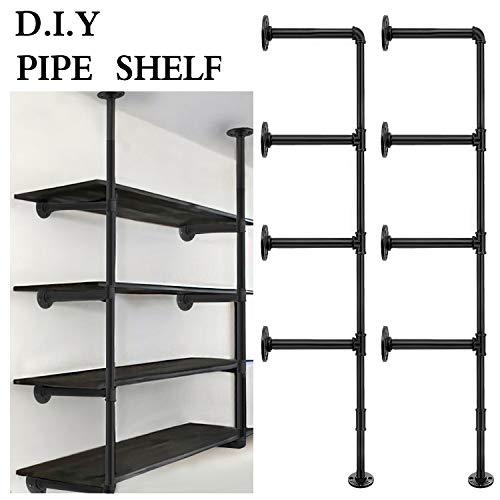 Industrial Retro Wall Mount Iron Pipe Shelf, Hung Bracket, DIY Storage Shelving, Home Improvement Kitchen Shelves,Tool Utility Shelves, DIY Open Bookshelf, No Planks (2 pcs)