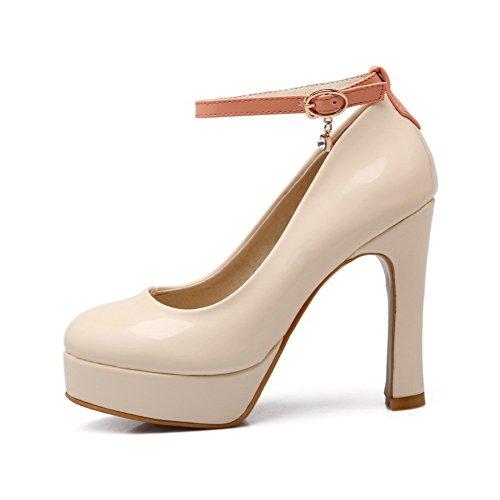 Amoonyfashion Donna Tacco Vertice In Vernice Colore Assortiti Tacchi Alti Scarpe-scarpe Beige