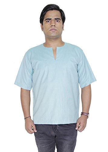 Shirt en coton mens long kurta - vêtements indiens robe de yoga de la mode
