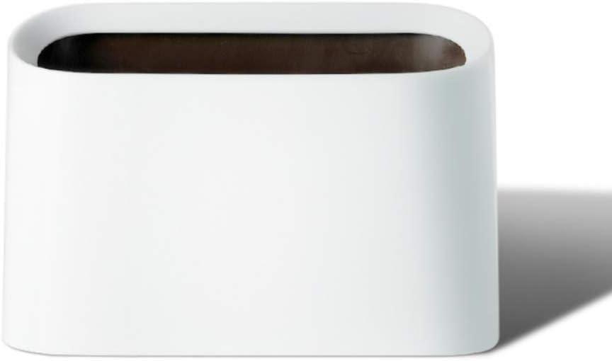 Lotsa Style Plastic Mini Wastebasket Trash Can & Makeup Holder, Vanity Desk Countertop Bathroom Kitchen (White-Basic)