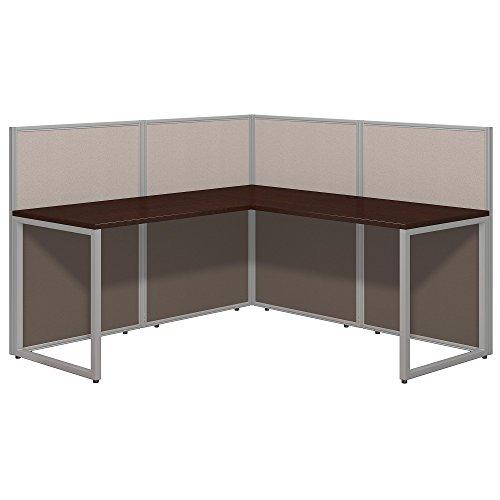 Metal Bush Workstation - Bush Business Furniture Easy Office 60W L Shaped Desk Open Office in Mocha Cherry