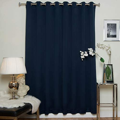 Navy Wide Width Nickel Grommet Top Thermal Insulated Blackout Curtain 100 Inch Wide