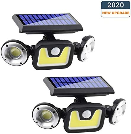 OZS-2 Pack 3Heads Solar Motion Sensor Lights, Solar Powered Security Lights, 83COB Super Bright Solar lights outdoor, Motion Detected Spotlight, Waterproof Flood Lights for Entryways Garage Patio Yard