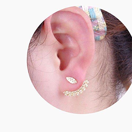KeyZone 2 Pcs Nice Leaf Ear Stud Front & Back Earrings for Girls (Gold)