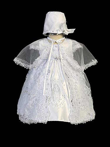 Tip Top Kids Baby Girls White Maria Sparkle Embroidery Christening Dress 12M