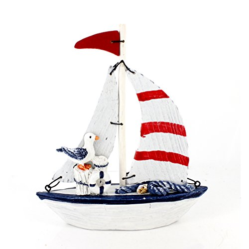 (5.6 Inches High Fun Nautical Decorative Wood Sail Boat Ornament with Sea Bird Seabird for Home Decoration,fully Assembled (Red))