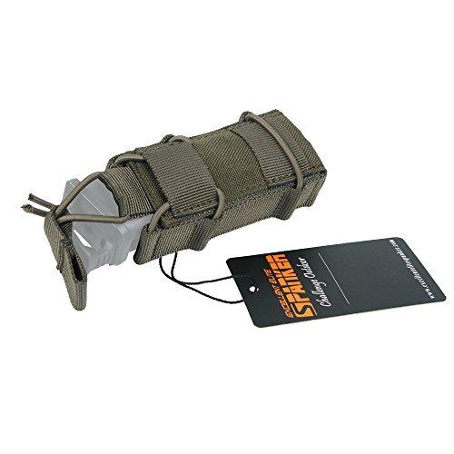 EXCELLENT ELITE SPANKER Tactical Flashlight Holder Open Top Single Magazine Adjustable Mag Pouch(Ranger Green)