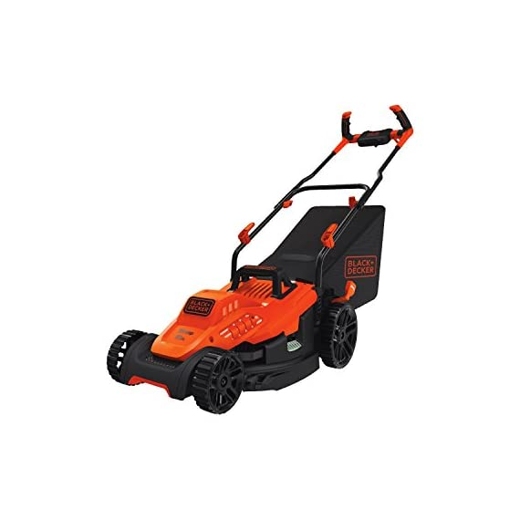 BLACK+DECKER Electric Lawn Mower, 10 -Amp, 15-Inch (BEMW472BH) 1 IMPROVED ERGONOMICS: Comfort grip handle makes the lawn mower easy to maneuver BETTER CLIPPING COLLECTION: Our winged blade achieves 30% better clipping collection NO MORE PULL CORDS: Push-button start makes starting the lawn mower a breeze