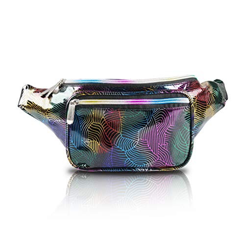 Holographic Fanny Pack for Women - Waist Fanny Pack with Adjustable Belt for Rave, Festival, Travel, Party (Neon Wire)
