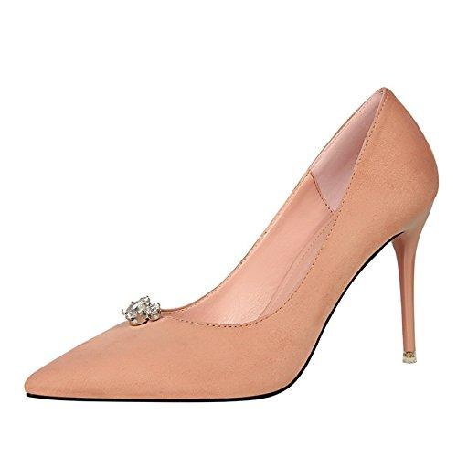 Zapatos Elegantes Trabajo Fina Pink Sexy Punta Temperamento YMFIE Individuales Habitaciones de con y Suede de cómodas Zapatos Señoras Tacones TZpZqw4Hn