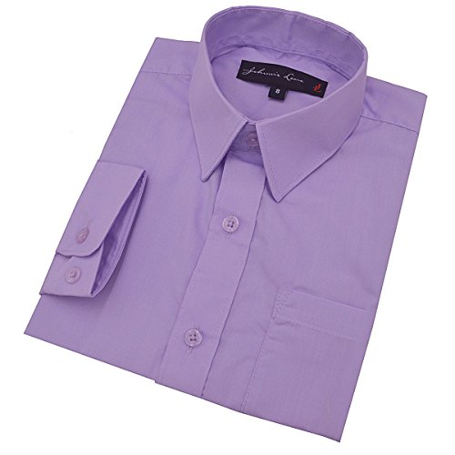 Little Boy's Long Sleeves Solid Dress Shirt #JL32 (5, Lilac)