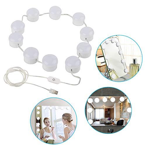(EEEKit LED Vanity Mirror Lights Kit, Vanity Lights Makeup Lighting Fixture Strip with 10 Dimmable Light Bulbs, Smart Dimmer, USB Adapter for Makeup Dressing Room )