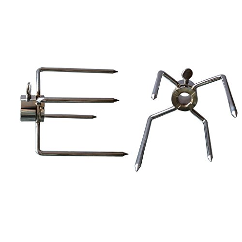 Onlyfire 6003 Grill Rotisserie Spit Meat Forks(1-Pair) Replacement-Fits 1/2-Inch Hexagon & 3/8-Inch and 5/16-Inch Square Spit Rods