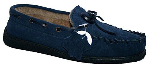 Para hombre de ante con forro forro para hombre mocassin Zapatillas azul marino