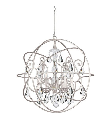 - Chandeliers 6 Light with Olde Silver Clear Swarovski Strass Wrought Iron 28 inch 360 Watts - World of Lighting