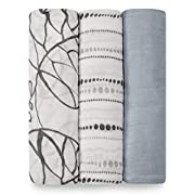 aden + anais Silky Soft Swaddle Baby Blanket; Viscose Bamboo Muslin; Large 47 X 47 inch; 3 Pack; Moonlight