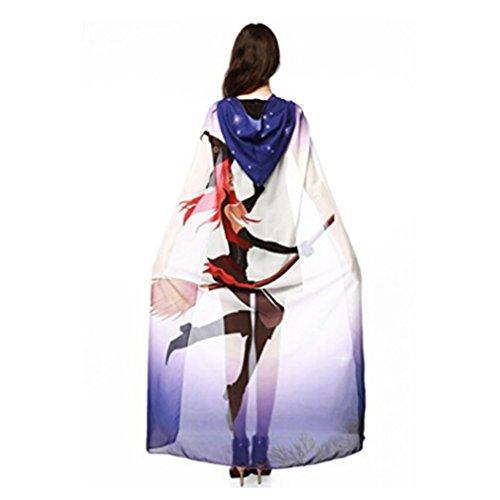 Meolin Women Cape Halloween Shawl Wrap Printed Cloak Dress Up Shawl ,Purple White Witch,54.349.2in