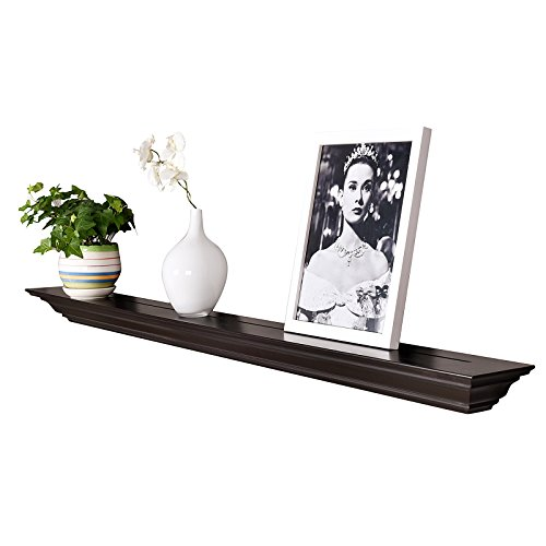 WELLAND Corona Crown Molding Floating Wall Photo Ledge Shelves Fireplace Mantel Shelf (60-Inch, Espresso)
