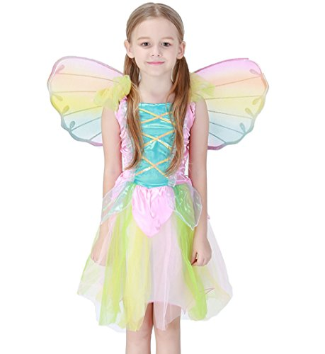 Springtime Fairy Childrens Costumes (Lovely Neon Fairy Angel Dress Butterfly Princess Costume Set with Wings Halloween Cosplay Angel Costume 3-8 years (L))