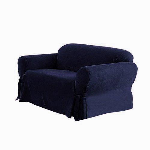 マイクロスエードソリッドスリップカバーセッとセパレート – 3枚、2枚、ソファーカバー、ラブシートカバー、アームチェア、カウチカバーがあります。 Sofa Cover ブルー Sofa Cover ネイビー B075HY9FJY