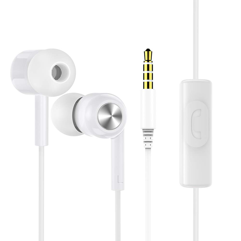 Wired High Definition Earbuds with Microphone Mic and Call Controller, in Ear Headphones Earbud Noise Cancelling Isolating in-Ear Earphone Deep Bass Ear Buds, Ergonomic Design White