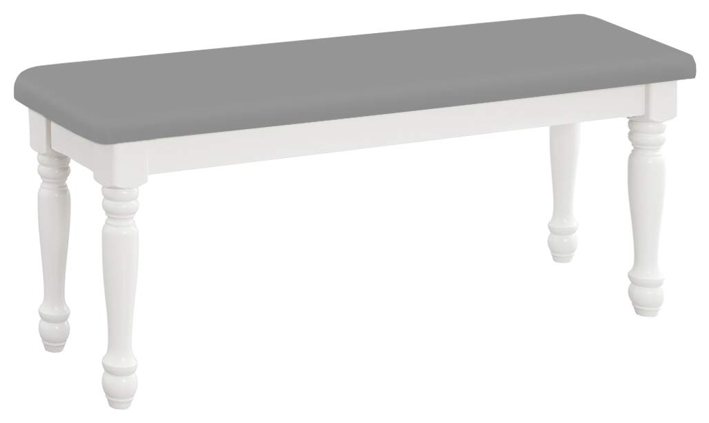The Furniture Cove Farmhouse Style Traditional Wood Dining Bench with White Legs Featuring Your Choice of a Colored Vinyl Covered Padded Seat Cushion (Gray Vinyl)