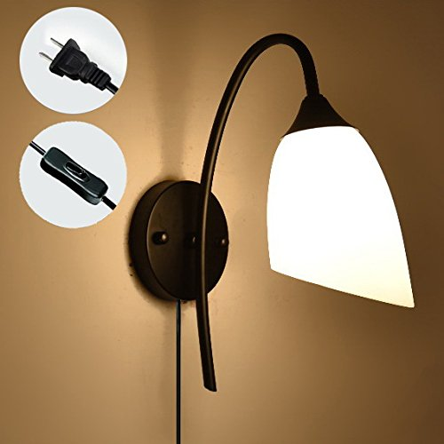 STGLIGHTING Black Base Wall Sconces Bending Arm Wall Lighting Simple Style Bedside Lamp UL Plug-In Button Cord Bulbs Not Included