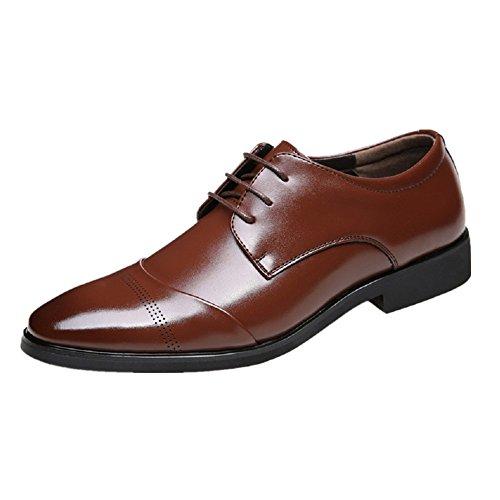 JOYTO Business Herren Anzugschuhe, Lederschuhe Schnürhalbschuhe Oxford Schuhe Smoking Lackleder Hochzeit Derby Leder Brogue Schwarz Braun 37-47 Braun
