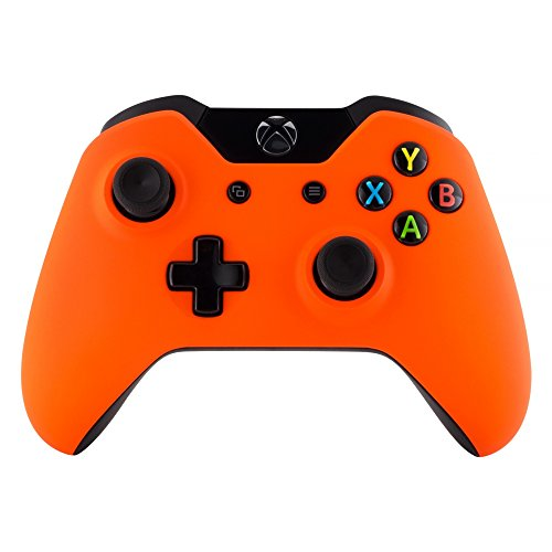 eXtremeRate Custom Design Unique Top Shell Case Front Housing Replacement Faceplate Kits for Xbox One Remote Controller Cover (Soft Touch Orange)