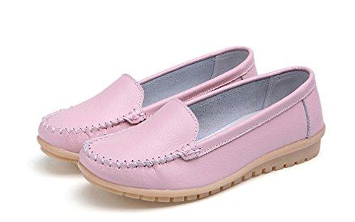 Bridfa Zapatos de mujer Mocasines de cuero genuino de los zapatos de mujer Zapatos de mujer Mocasines zapatos de mujer Rosa