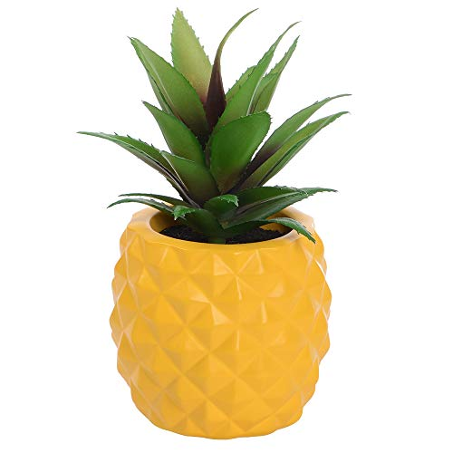 Lvydec Potted Artificial Succulent Decoration, Fake Pineapple Plant for Home Office Tabletop Decoration (Yellow) (Pineapple With A Special Pencil)