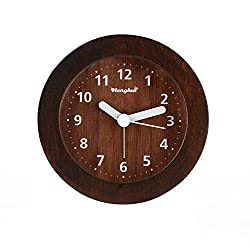 Henghui Solid Wood Circle Non Ticking Analog Quartz Alarm Clock with Nightlight, Snooze and Ascending Sound Alarm (Brown, Circle)