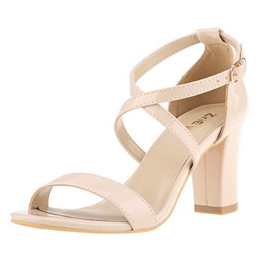 ZriEy Women's Chunky Block High Heels Across Strappy Sandals Fashion Sexy Heeled Sandals