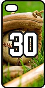 Baseball Sports Fan Player Number 30 Smoke Rubber Decorative iPhone 5/5s Case