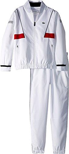 - Lacoste Kids Mens Taffeta Novak Djokovic Tracksuit (Little Kids/Big Kids) White/Black/Red 8 (Big Kids) One Size