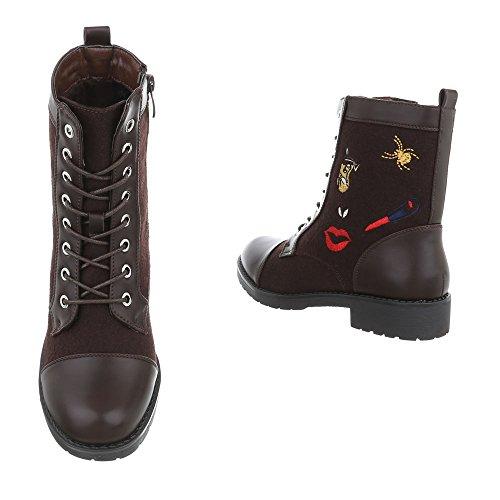 Schuhcity24 Damen Schuhe Stiefeletten Schnür Boots Braun