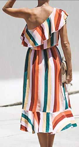 One 2 Women's Split ainr Asymmetry Striped Dress Ruffles Shoulder Midi 7ORAzqx5
