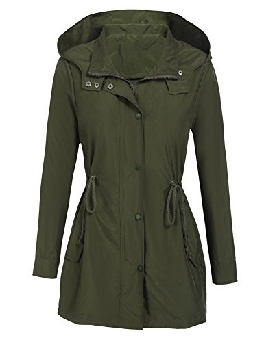 - Donkap Women`s Anorak Jacket Lightweight Drawstring Hooded Military Parka Coat (Army Green M)