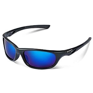 Duduma Polarized Sports Sunglasses for Men Women Baseball Running Cycling Fishing Driving Golf Unbreakable Frame Du646(Black matte frame with blue lens)