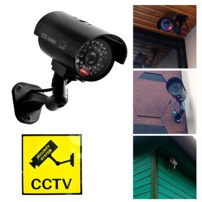 Cámara simulada Cámara de vigilancia Falsa CCTV Seguridad de día y Noche Simulación de cámara de vigilancia Monitoreo de cámara Virtual con LED Rojo ...